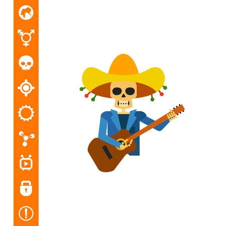 Multicolored vector icon of skeleton representing guitar player from Mariachi band.