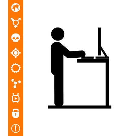 Man working on computer at standing desk. Workplace, creative, office. Stand work concept. Can be used for topics like business, management, ergonomics.