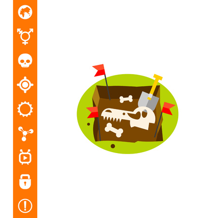 Paleontology Flat Icon Illustration