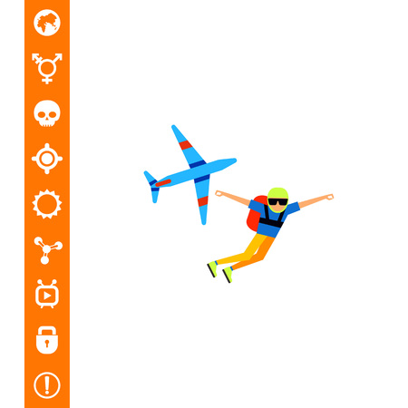Parachutist Jump Icon Illustration