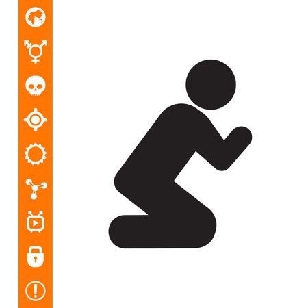 Vector icon of man silhouette standing on knees and praying
