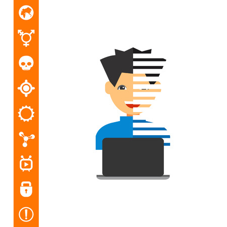 Programmer with Laptop Icon Illustration