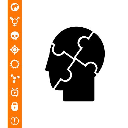 Menschlicher Kopf mit verwirrten Elementen. Geist, Heilung, Pflege. Psychologiekonzept. Kann für Themen wie Medizin, Gesundheitswesen, Gesundheit, Psychologie verwendet werden.