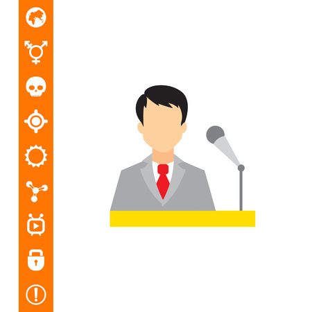 speakers: Icon of businessman at speakers stand with microphone Illustration