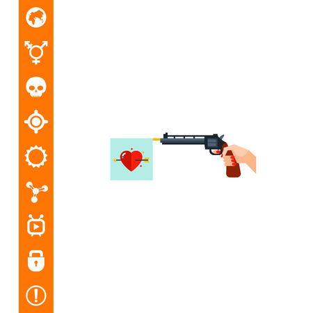 Revolver Shoots Heart Love Flag Icon
