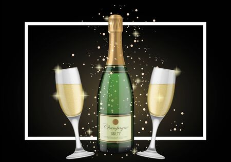 champagne celebration: Bottle of Champagne and Goblets. New Year Day design element. Handwritten text, calligraphy. For greeting cards, posters, leaflets and brochures.