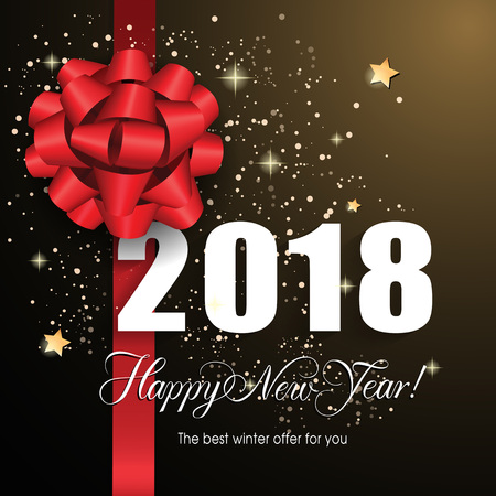 Happy New Year 2018 lettering with big bow. Handwritten and typed text, calligraphy. For posters, leaflets and brochures. Illustration