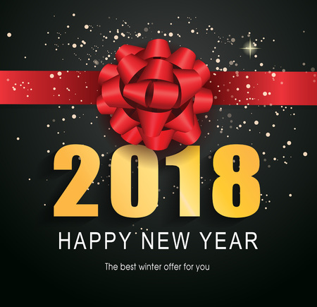 Happy New Year 2018 lettering. Typed text, calligraphy. For posters, leaflets and brochures.
