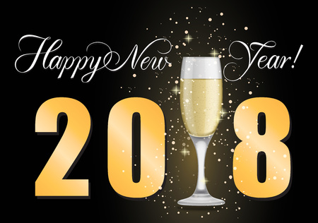 champagne celebration: Happy New Year 2018 lettering. New Year Day greeting card with glass of champagne. Handwritten and typed text, calligraphy. For greeting cards, posters, leaflets and brochures.