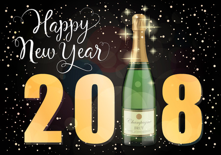 Happy New Year 2018 lettering. New Year Day greeting card with bottle of champagne. Handwritten and typed text, calligraphy. For greeting cards, posters, leaflets and brochures. Illustration