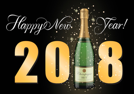 Happy New Year Lettering, Champagne Bottle