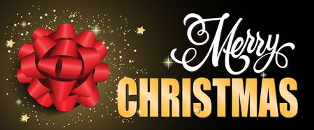 Merry Christmas Lettering With Big Bow