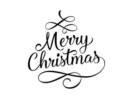 Wesołych Świąt Bożego Narodzenia napis z zawijasami Ilustracje wektorowe