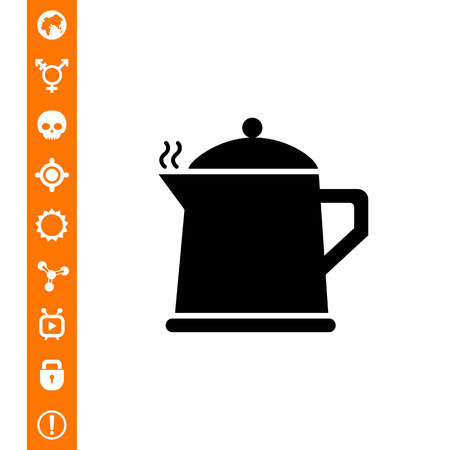 Vector icon of hot teapot with steam Illustration