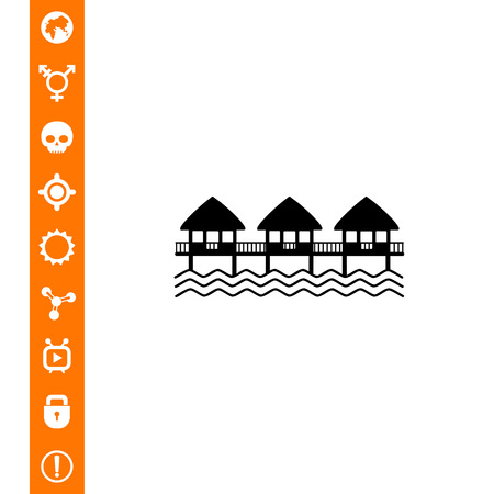 recess: Hotel on water, three overwater bungalows. Summer, house, resort. Hotel concept. Can be used for topics like tourism, vacation, architecture. Illustration