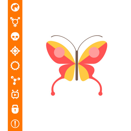 butterfly isolated: Red butterfly icon Illustration