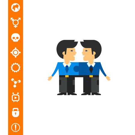 Linked Men as Team Cohesion Concept Icon Illustration