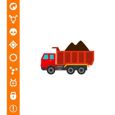 Loaded dump truck icon vector illustration. Illustration