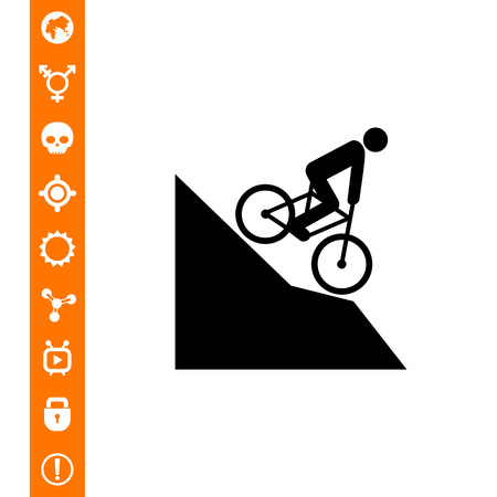 Man riding mountain bike downhill icon. Çizim