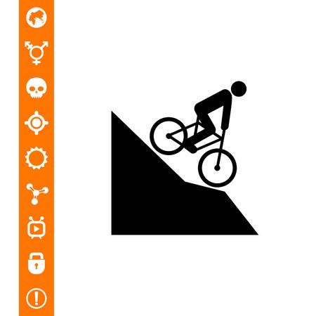 Man riding mountain bike downhill icon. Illustration