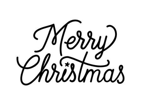 vintage postcard: Merry Christmas creative lettering