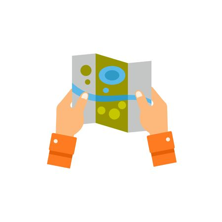 Hands holding paper map icon