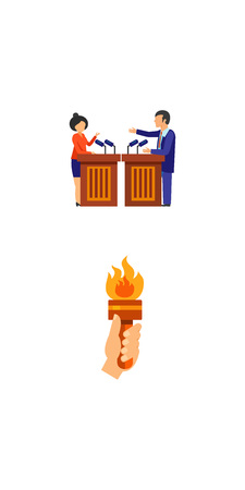 Elections and business icon set. Debating candidates and hand with fire