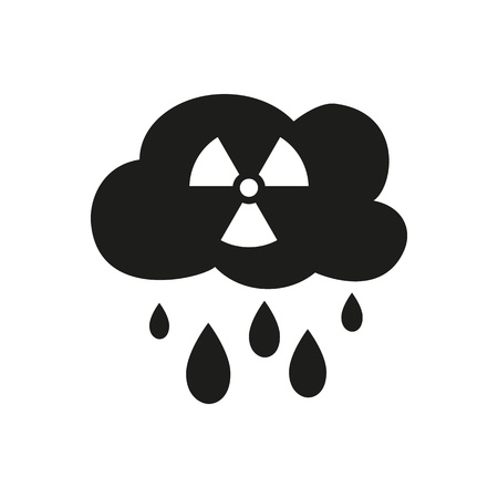 Icon of acid rain. Cloud, drops, environment. Ecology concept. Can be used for topics like danger, damage, precipitation