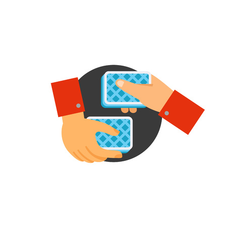 Vector icon of hands performing card tricks. Fraud, gambling, magic trick. Illusionist tricks concept. Can be used for topics like entertainment, performance, leisure game