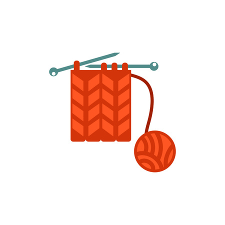 Vector icon of knitting needles with yarn. Wool, knitting, handicraft. Handmade concept. Can be used for topics like hobby, leisure, creativity