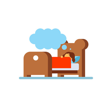 lying in bed: Vector icon of little girl dreaming in bed. Bedtime, night, childhood. Sleeping concept. Can be used for topics likehealth, daily routine, rest