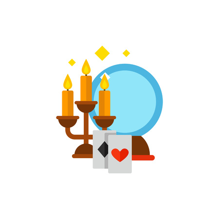 Vector icon of candles, mirror and playing cards. Mystery atmosphere, fortunetelling, magic, trick. Illusionist tricks concept. Can be used for topics like entertainment, mysticism, parapsychology