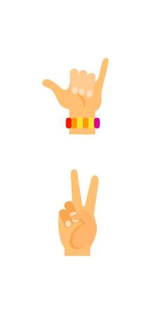 Hand signs icon set Illustration