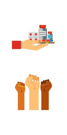 Hand holding icon set Illustration