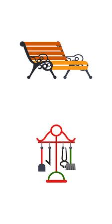 Iron works icon set, creative blacksmith product illustration