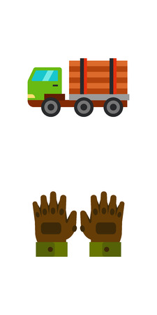 Sawmill and wood icon set Illustration
