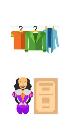 Theatre performance icon set Illustration