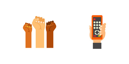 Elections icon set. Candidates Posters Reminder Rock Thumbs-up Setting Clock Applause Protest Remote Control Counting Votes