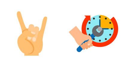 Positive gesture icon set. Giving Five E-book Oscar Break Gesture Counting Votes Praying Stopwatch Rock Setting Clock