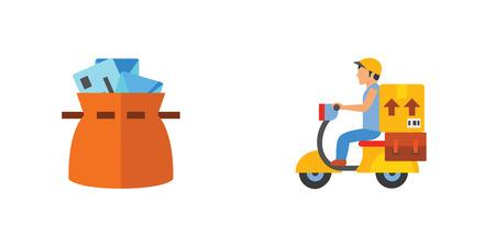 Postal services icon set
