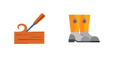 Sawmill and firefighting icon set