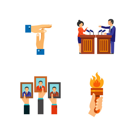 Elections and business icon set. Voting Vote paper Honest fraud Riot Break Debate Time is money Protest Posters Fire torch Election campaign Peace gesture Graph Counting of votes Targeting Ballot box