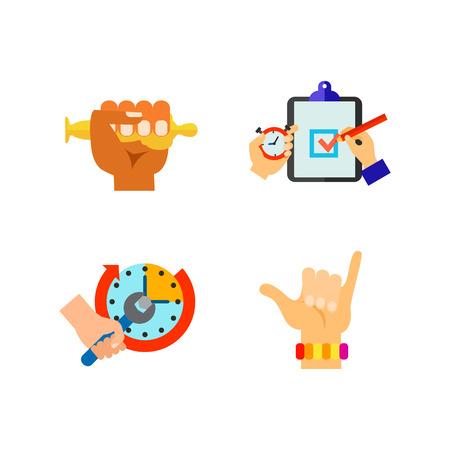 Hand symbol icon set Vector illustration.