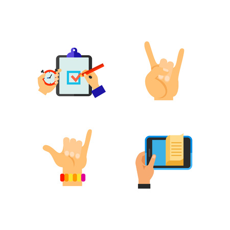 Hand symbol icon set Vector illustration.