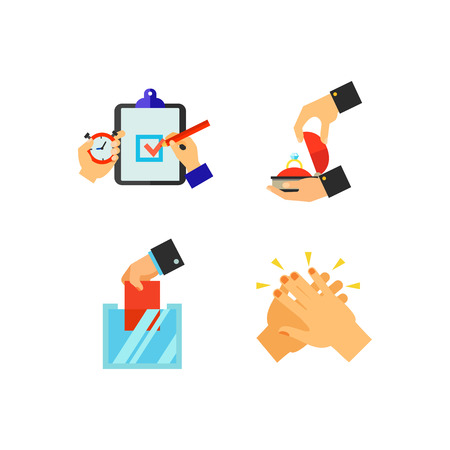 Hand sign icon set. Package tracking with mobile phone Blacksmith forging metal on anvil Like gesture Counting votes Deadline time Making proposal with ring Holding Oscar Ballot box Clapping hands