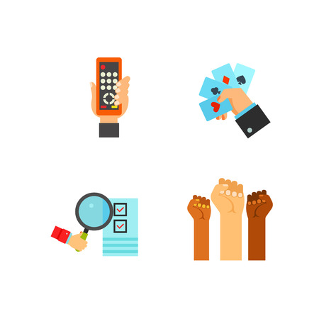 Hand symbol icon set Illustration