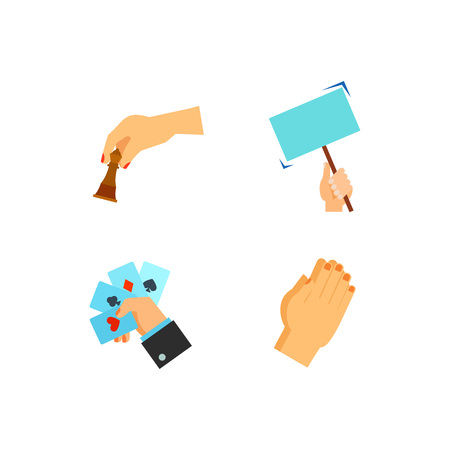Hand symbol icon set Illustration