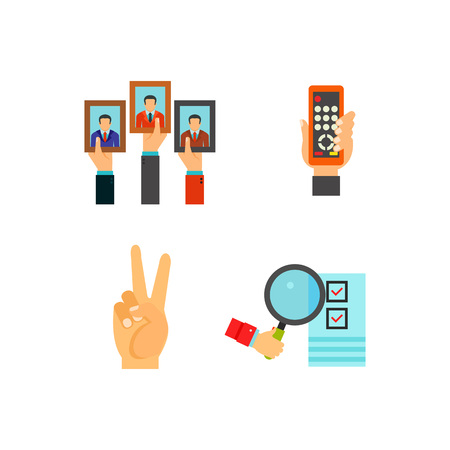 Hand symbol icon set. Oscar Deadline Rock Vote paper Proposal Setting clock Shaka E-book Chess Protest Like Poster Remote control Playing cards Praying Organizer Peace Counting votes Riot Ballot box