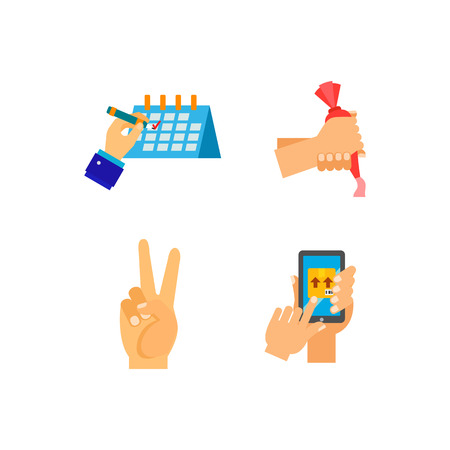 Hands icon set. Clapping Deadline Like Voting Break Pills Surfers shaka Proposal Chess Protest Friendship Schedule Cake decoration Playing cards Organizer Ballot box Peace Package tracking Riot Rock