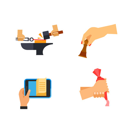 Hobby icon set. Forging Metal Playing Chess Vote Paper E-book Decorating Cake Oscar Thumb Fight Stopwatch Playing Cards Illustration